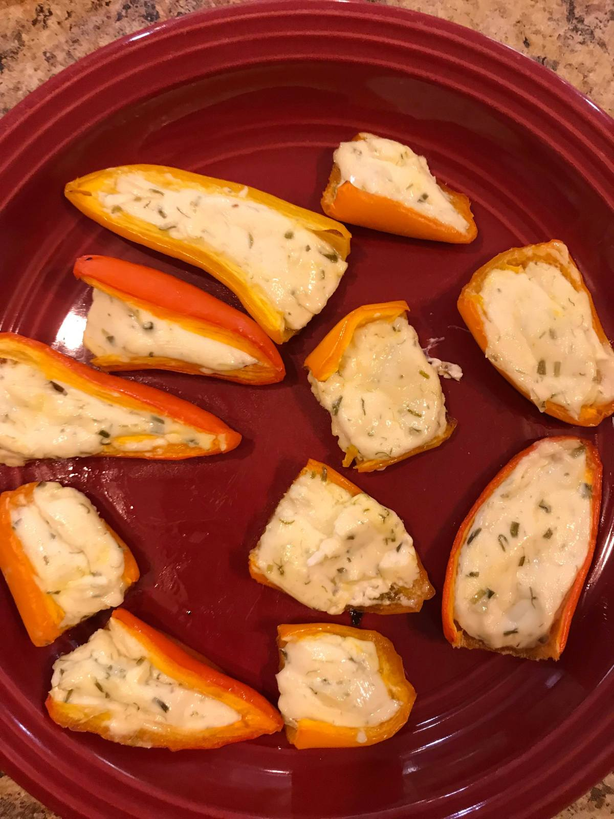 10 Minute Lazy Cream Cheese Stuffed Sweet Peppers
